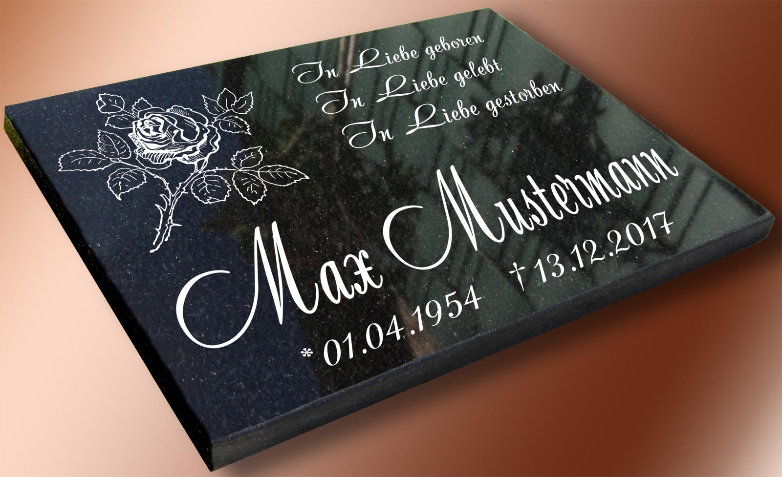 - Motiv - Maria Naturschiefer Gedenkplatte Grabstein Grabtafel Grabplatte Urne